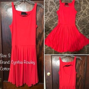 Coral Cotton Dress, size Small. Cynthia Rowley